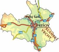 Mapa okresu Prešov - klikni